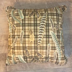  Noble Elegance Plaid and Feather Pillow